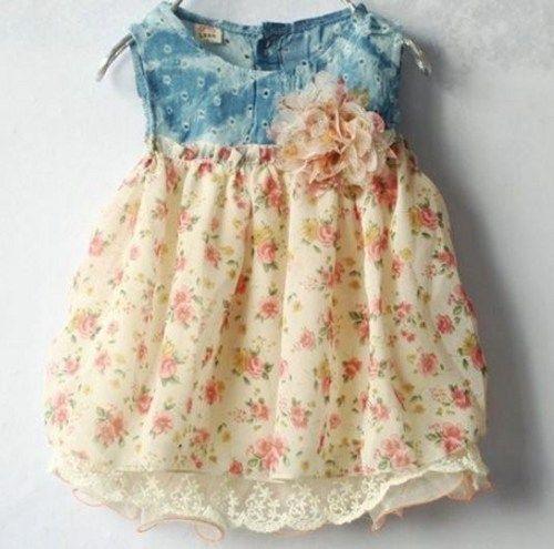 Newborn Jean Dress Floral Summer Outfit for Girls-Peach Color | sariasknitncrochet - Children's on ArtFire