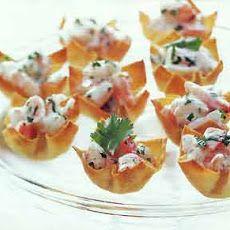 Mango-curry shrimp salad wanton cups   High Tea ideas   Pinterest