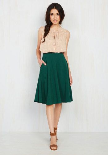You definitely have that swing when you step out in this dark green midi skirt! Part of our ModCloth namesake label, this circle skirt touts a vintage-inspired, high-waisted design with pockets, and will surely influence a plethora of dance-worthy ensembles.
