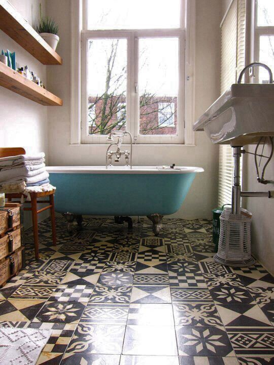 Blue, black & cream | mix and match patterned floor tiles in bathroom
