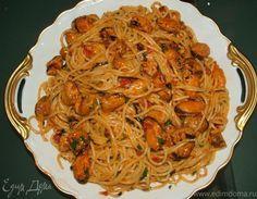 Спагетти с мидиями. Ингредиенты: спагетти, мидии, томатный соус | Кулинарный сайт Юлии Высоцкой: рецепты с фото