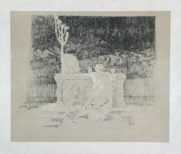 František Bílek  Neklid a bouře  dřevoryt, 1918