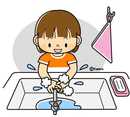 Девушки моют руки с мылом и иллюстрациями (цвет)