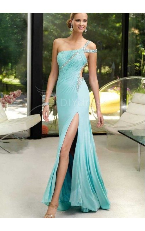 Trendy A-line One-shoulder Crystal Detailing Split Front Floor-length Prom DressesEvening Dresses