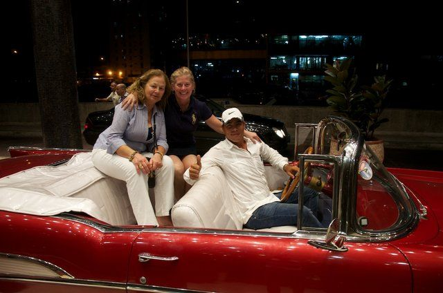 The Chester County Art Association's members riding in classic Cuban cars on their trip to #Cuba.