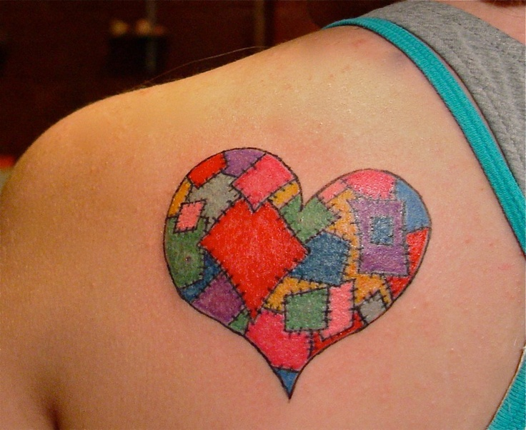 patchwork heart by dina verplank see more at fireflytattoo.com ... : quilt patch tattoo - Adamdwight.com