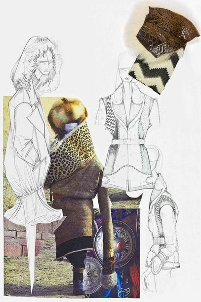 Fashion Portfolio - fashion design board with theme, fabric ideas & fashion sketches - fashion sketchbook; creative process
