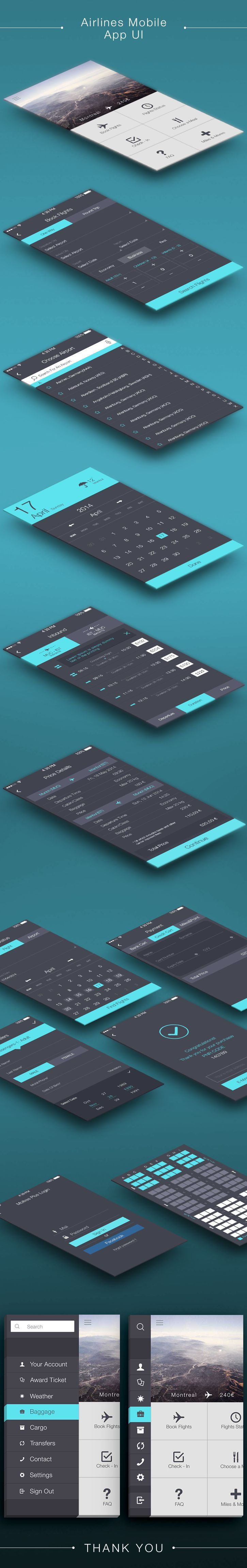 Airlines mobile app ui