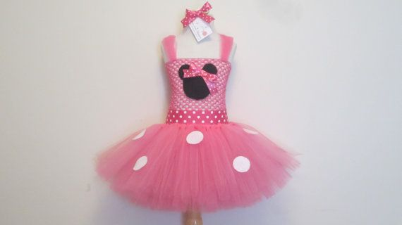 Tutu Dress Pink Minnie Mouse Costume w/ Hair by AmericanBlossoms, $60.00