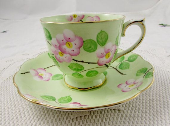 Royal Albert Evangeline Tea Cup and Saucer, Green with Pink Flowers, Vintage Bone China