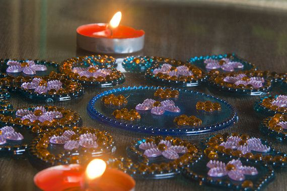 Blue baby pink and yellow flowers  Reusable Diwali by Shimmeria