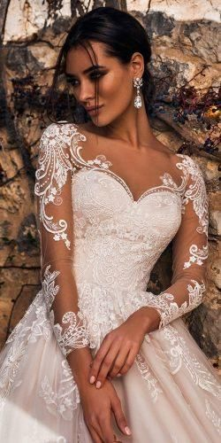 long sleeves wedding dress Lace Tulle Wedding Dress With Front Slit,Bridal Dress