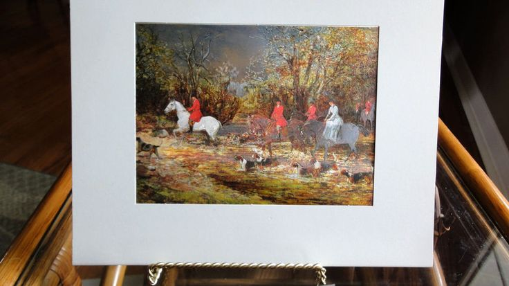 Crossing The Ford, Horses & Hounds, Vintage Foil Dufex Print England