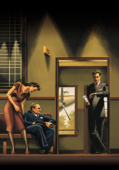 pictorialautobiography:  Kenton Nelson, Waiting Room