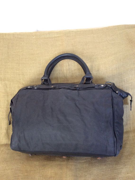 Vintage KRANE black waxed canvas and door VintageLeatherPurses