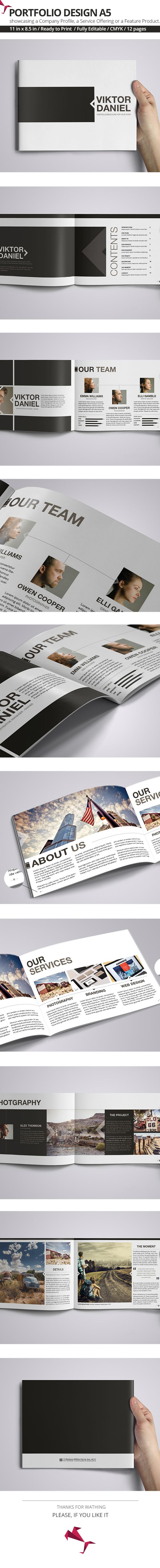 Viktor Daniel Portfolio Design A5 is a personal portfolio Indesign template, is a unique way of showcasing your work in a magazine style. You can insert Your own brands, images, text & change color of portfolio. This Indesign Files are Fully Editable. You…