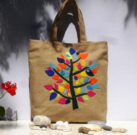 Tote bag with colorful treeChic Juteversatileburlap by Apopsis, $80.00