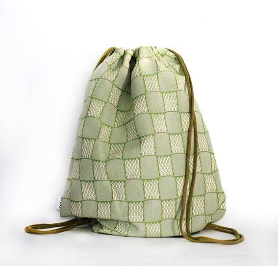 Green Square cotton drawstring bag backpack by PopaStore on Etsy