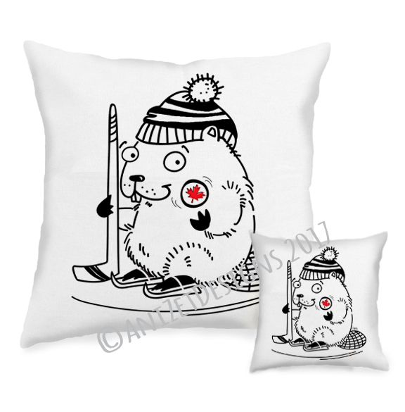 """For the hockey fans! The very new addition to the AnizetDesigns pocket pillow collection , """"Hockey Beaver"""" — Northern Friends collection—"""