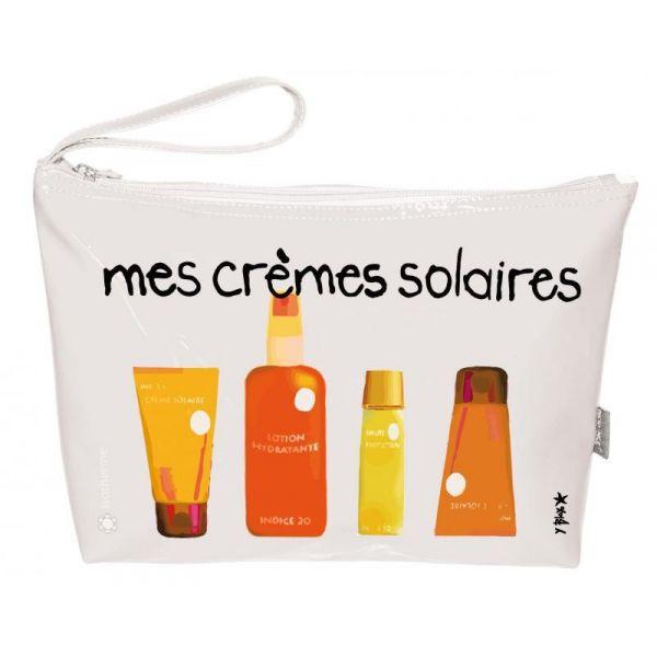 """Trousse Vinyle Isotherme """"mes crèmes solaires"""" pour crème et spray solaire  #maroquinerie #sac #voyage #enfant #adulte #valise #trousse #plage #pochette #cremesolaire"""