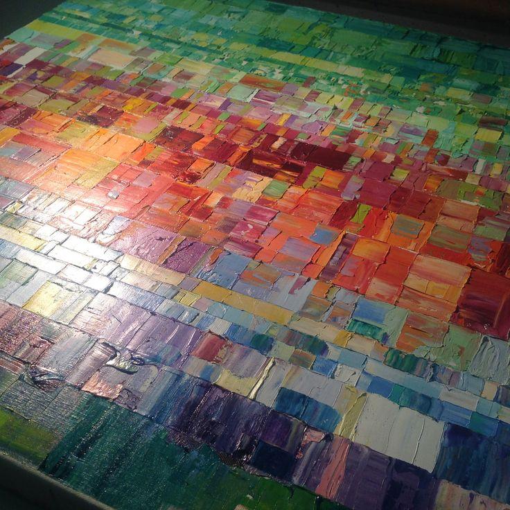 Abstract art, oils on canvas, work in progress By Paul Mason