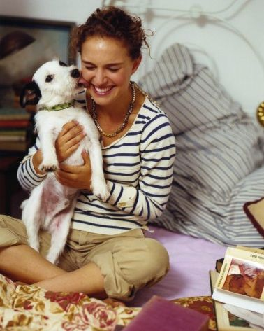 Natalie Portman with Jack Russell Dog