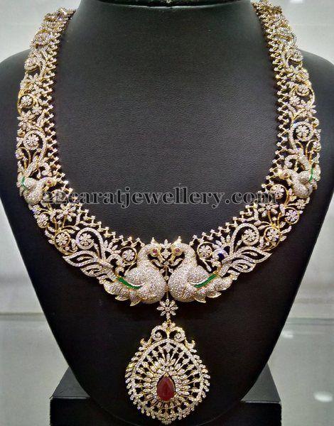 Jewellery Designs: Peacock Theme Diamond Haram