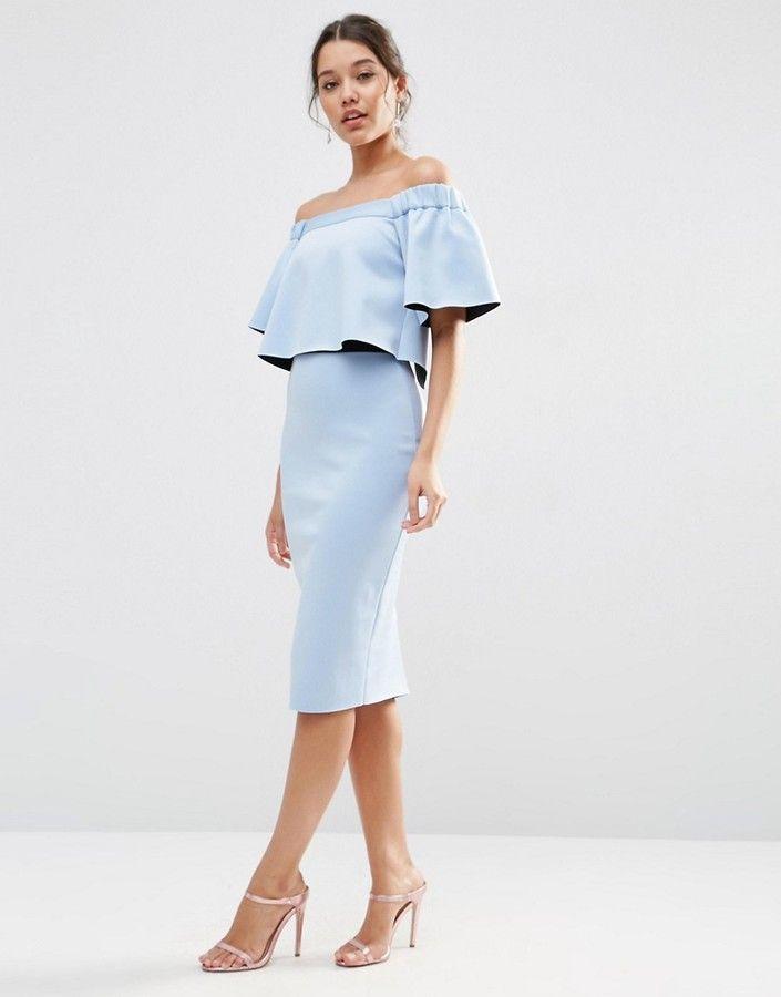 82ea421203d7e ASOS Bardot Off The Shoulder Ruffle Crop Midi Dress