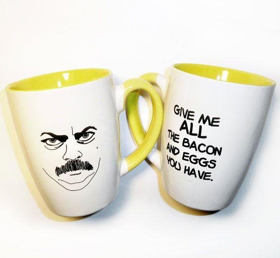 ron freakin' swansonCoffe Mugs, Birthday, Parks And Recreation, Eggs, Ron Swanson, Gift Ideas, Breakfast, Bacon, Ronswanson