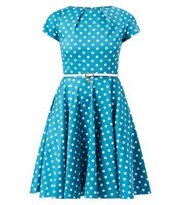 New Look - Closet Green Polka Dot Belted Skater Dress