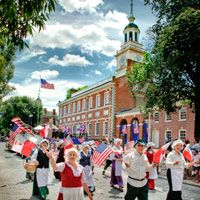 Visit Independence Hall. It is known primarily as the location where both the Declaration of Independence and the United States Constitution were debated and adopted. Betsy Ross' home and the Liberty Bell is in walking distance.