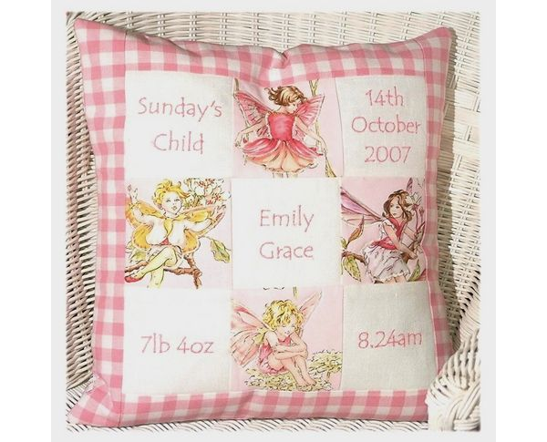 One of our best sellers - the Flower Fairy Memory Cushion.  A wonderful way to capture all the birth details of your new baby.