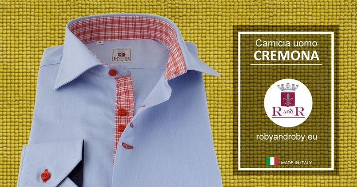 Men's shirt CREMONA Light blue striped shirt with red buttonholes Contrast style 100% cotton #Mensshirt  - Camicia Uomo CREMONA -  Camicia millerighe celeste asole rosse Contrasto stile 100% cotone #Camiciauomo