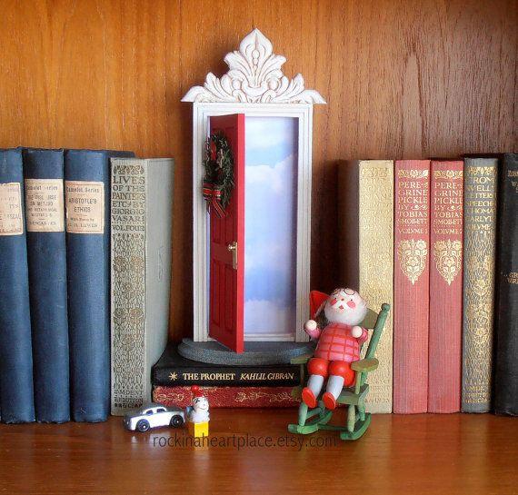 Elf Door and/or Santa Door, Fairy Door or Tooth Fairy Door, Christmas themed, opens outward with sky inside