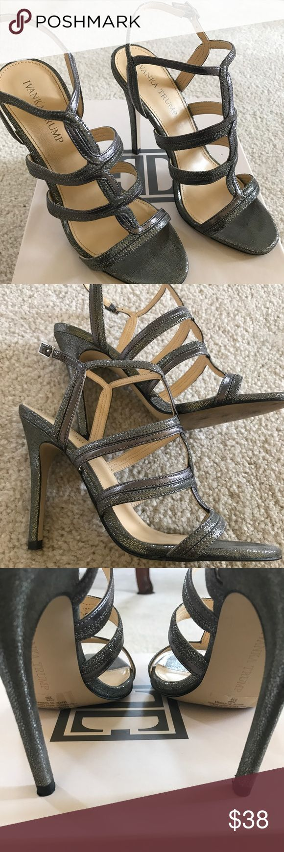 Ivanka Trump pewter/silver strappy sandals Ivanka Trump pewter/silver strappy sandals Sz 7.5 Ivanka Trump Shoes Heels