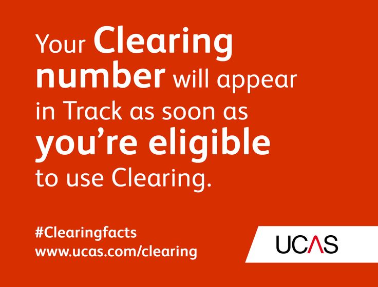 Your Clearing number will appear in Track as soon as you're eligible to use Clearing. #UCAS #Clearingfacts