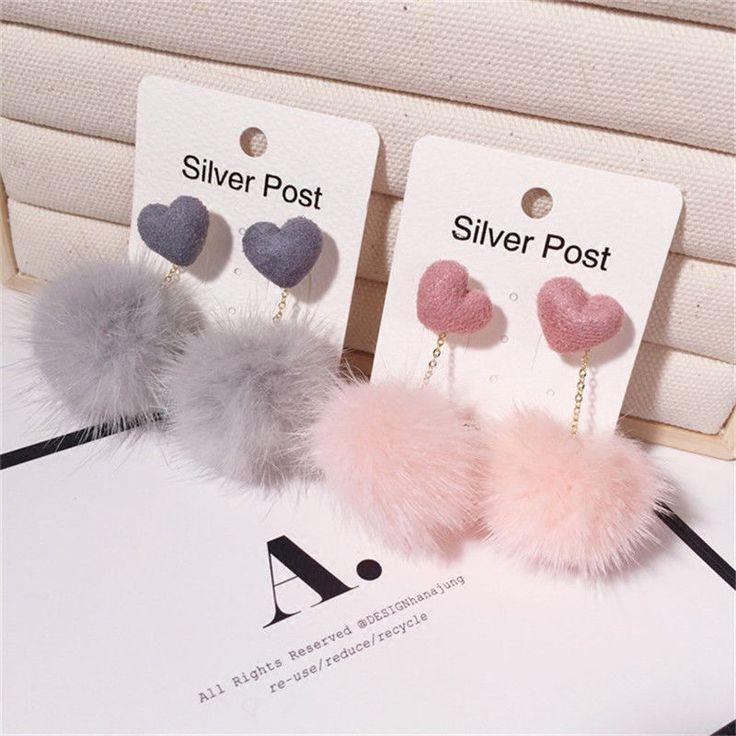 Cute Women Fashion Unique Soft Fur Ball PomPom Long Earrings Ear Dangle Jewelry
