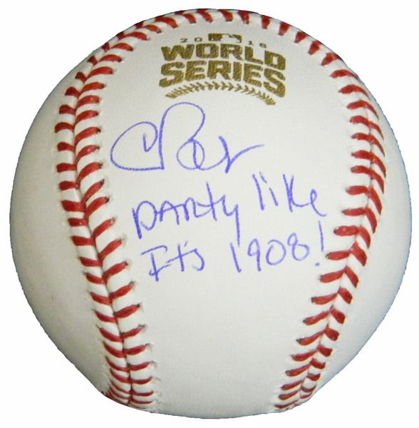 Chris Bosio Signed Rawlings Official 2016 World Series MLB Baseball w/Party Like It's 1908