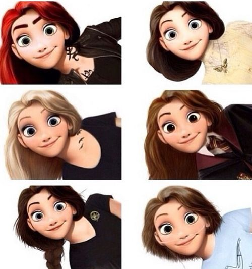 Rapunzel as: Clary Fray, Tessa Gray, Tris Prior, Hermione Granger, Katniss Everdeen, and Hazel Grace Lancaster :) love this!
