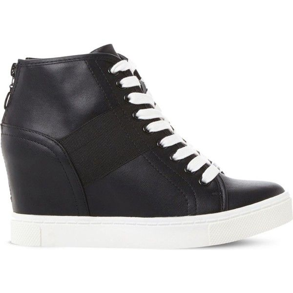 STEVE MADDEN Lussious lace-up wedge trainers (100 CAD) ❤ liked on Polyvore featuring shoes, sneakers, sports trainer, zipper sneakers, steve madden shoes, wedge trainers and lace up wedge shoes
