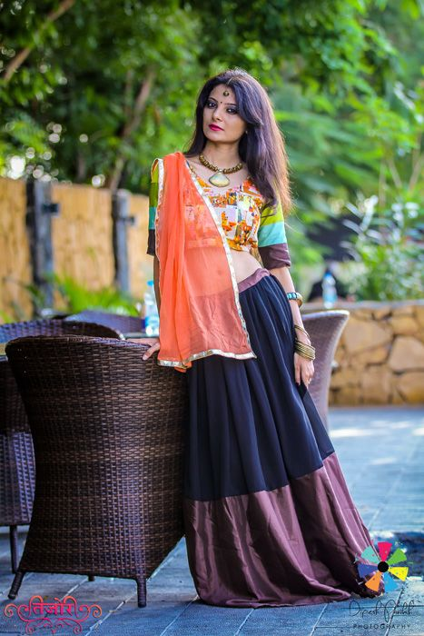 Orange Abstract Designed Semi Silk Indo Western Chaniya Choli #NavratriCollection