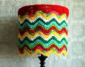 Eclectic Lamp Shade Crocheted Chevron Colorful Housewares Hippie Lighting OOAK Unique Unusual