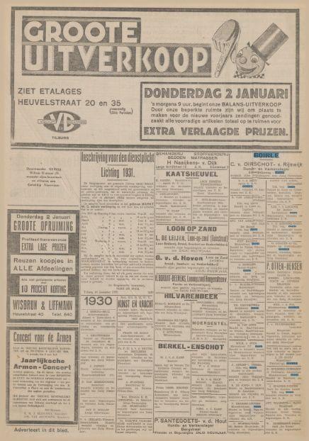 Advertenties Krantentitel: Nieuwe Tilburgsche Courant Datum, editie:31-12-1929