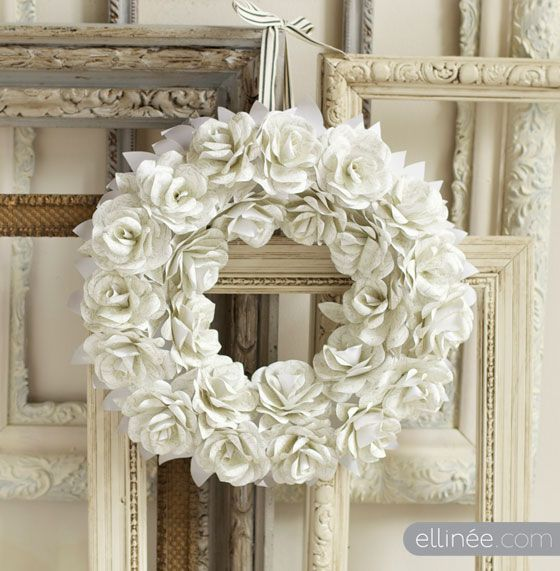 DIY Handmade Paper Flower Wreath  A gorgeous idea for a door entrance. The how-to includes a tutorial and template.