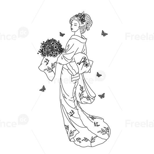 Tattoo Japanese style. Tattoo for girls. #tattoo #ideastattoo #japan #forgirls #vector #graphics #freelancediscount
