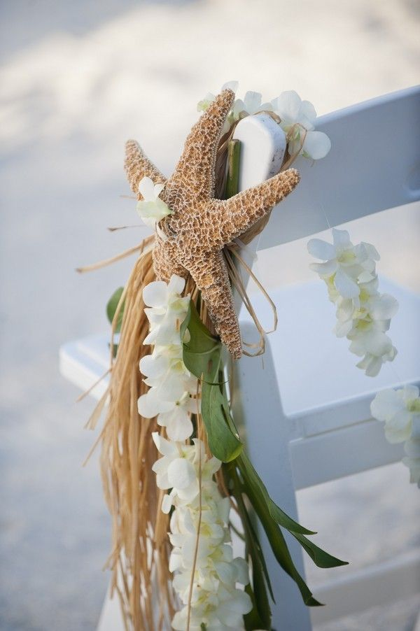 2014 starfish and floral beach wedding chair decor, natural beach wedding chair decor ideas.