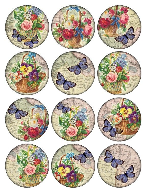Vintage Printable Tags Digital Collage Sheet flowers and butterflies large circle images round 2.5 inch background Download and Print