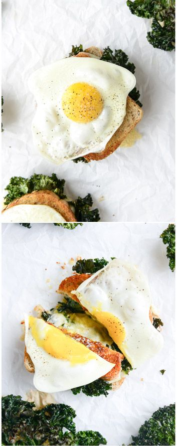 Crispy Kale Grilled Cheese I howsweeteats.com