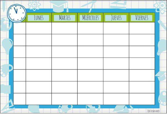 Qué cosas haces: Horario Asignaturas para el Colegio 2014-2015 - Schedule for school 2014-2015