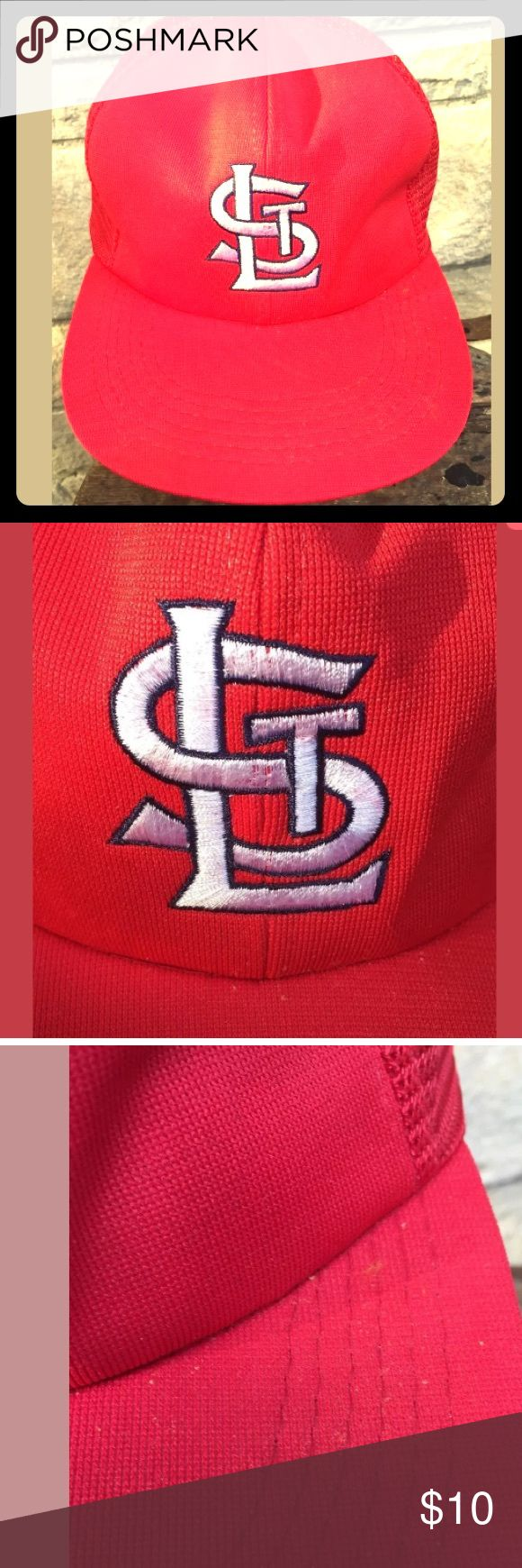Vintage St. Louis Cardinals Hat True Vintage St. Louis Cardinals SnapBack Hat Cap; mesh style back, adjustable, red with White logo; Official MLB Amoco Oil Promotional tag inside, minor wear/staining- see photos MLB official license Accessories Hats